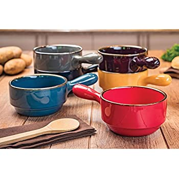 Amazon Com Handled Stoneware Soup Bowls Set Of 6 30