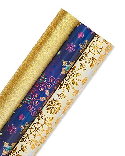 Papyrus Holiday Snowflakes Wrapping Paper Set, 3-Count