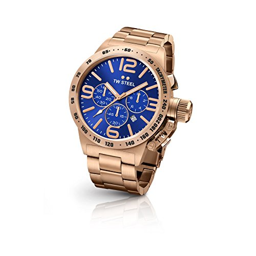 TW Steel CB183 Men's Canteen Bracelet Rose Gold Band Blue Dial Watch