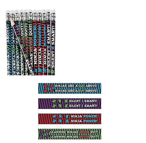 (48) Learning NINJA PENCILS ~ Fun Educational Motivational Ninja Pencils ~ Teachers Classrooms Coaches Rewarding Prize ~ Great for School Camps Karate Martial Arts Holiday Teacher Gift