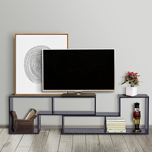 """3-in-1 Versatile TV Stand Bookcase Display Cabinet by DEVAISE (New Style-Black ( 0.6"""" thickness))"""