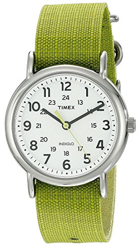 Timex Unisex TW2P659009J Weekender Stainless Steel Watch with Lime Green Nylon (Timex Watch Nylon Band)