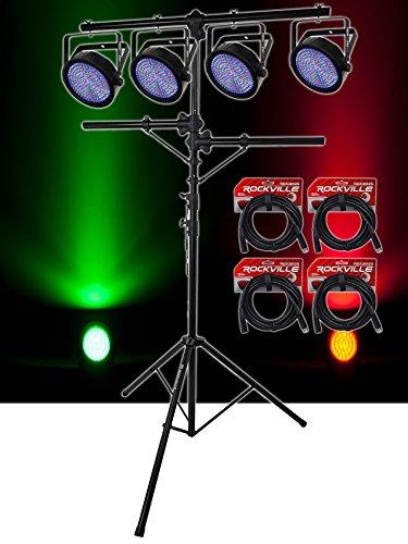 (4) Chauvet SlimPAR 64 RGBA Compact DMX LED Par Wash Lights+Tree Stand+Cables