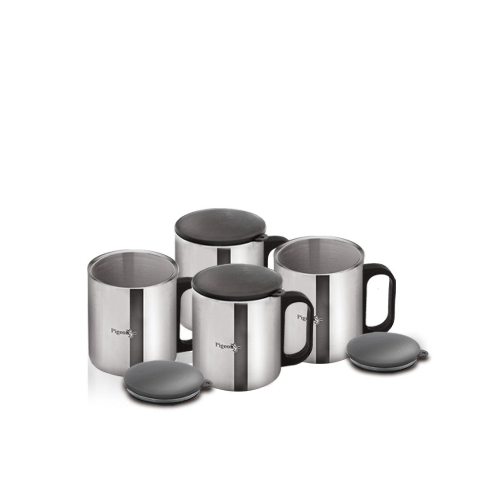 Pigeon Stainless Steel Coffee Cup Set of 4 (with Lid)
