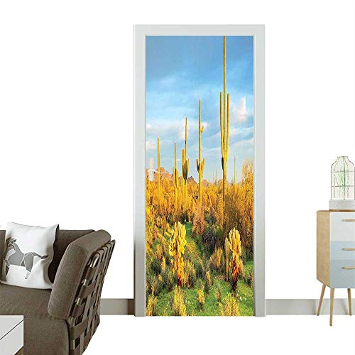 Door Sticker Wall Decals Sun Bath oran ERT Cactus SPR Time Vegetati Scenery Yellow Blue Easy to Peel and StickW38.5 x H77 INCH ()