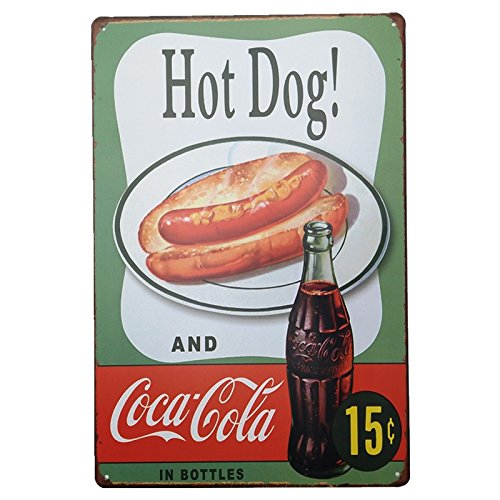 UNiQ Designs Metal Tin Signs - Hot Dog and Coca Cola Food Sign - Hot Dog Decorations Metal Food Signs Hotdog Sign - Vintage Poster Food Tin Food Signs - Hot Dog Tin Signs Vintage Funny - Pub Sign 12x8