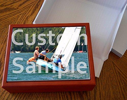 Personalized custom photo tile wood box card holder memory gift unisex great presentation! Michigan images (Tile Personalized Photo)
