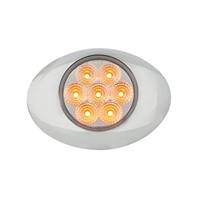 Grand General 76191 Amber Small Low Profile Spyder 7-LED Marker/Clearance Sealed Light with Chrome Bezel and Clear Lens: Automotive