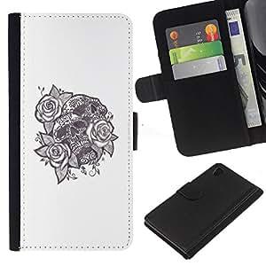 Be-Star la tarjeta de Crédito Slots PU Funda de cuero Monedero caso cubierta de piel Sony Xperia Z4v / Sony Xperia Z4 / E6508 ( Tattoo Ink Skull Black White Rose Love )