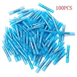 100pcs 16-14AWG Insulated Heat Shrink Butt Wire Electrical Crimp Terminal Connectors Kit, Blue, 1.5-2.5mm