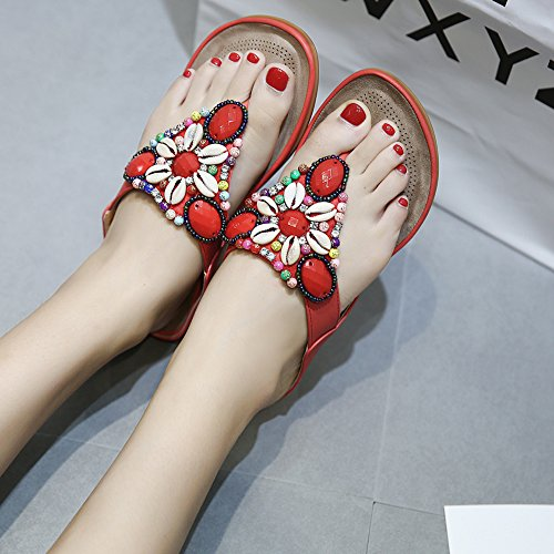 TININNA Ladies Girls Summer Thong Sandals Flip Flops Bohemian Rhinestone Bead Flat Sandals Summer Beach Shoes Slippers Red CAzkibSpKP