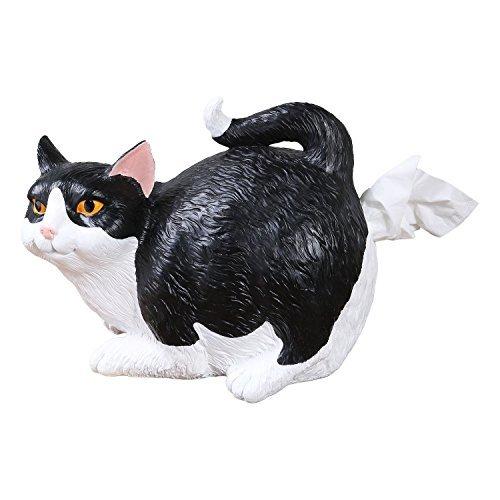 Cat Butt Tissue Holder - Black & White Tuxedo - Fits Standard Tissue Box - Resin
