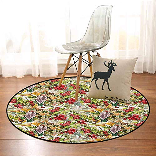 Rowan 3D Printed Round Carpet Mixed Pattern of Rural Wild Flowers Leaves and Berries Rustic Artistic Composition for Partial Areas D47.2 Inch Multicolor