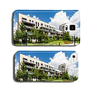 Newly built block of flats with public green area around cell phone cover case iPhone5