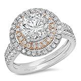 3.05 CT Round Cut Sim Diamond Pave Halo Bridal Engagement Wedding Ring band set 14k White Rose Gold