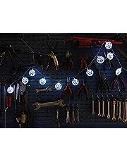 BRISA VW Collection – stylowy łańcuch świetlny z logo Volkswagen na imprezy, do pokoju dziecięcego, warsztatu i na imprezy (do użytku wewnątrz / 3 m / 20 diod LED / niebiesko-biały)