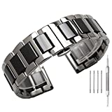 22mm Silver Stainless Steel Black Ceramic Watch Strap Women Men Wrist Band Bracelet w/Butterfly Clasp Deployment Push Button