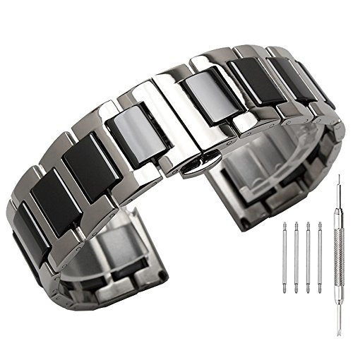 Silver Metal & Black Ceramics Watch Band Men Women 20mm Watch Strap Polished Solid Replacement Watch Bracelet Deployment ()