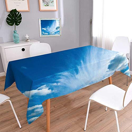 PINAFORE HOME Tablecloth Stain Resistant Ciel bleu avec des nuages Cover Assorted Size/Rectangle, 60 x 126 Inch