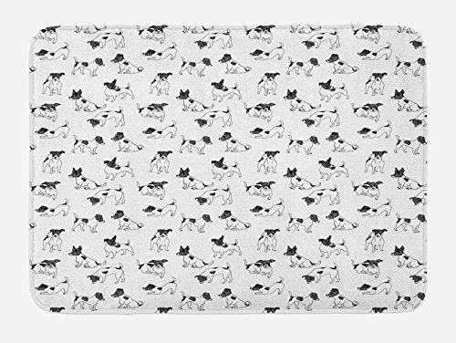 Ambesonne Dog Lover Bath Mat, Sketch Style Hand Drawn Jack Russell Terrier Doodles in Various Stances Purebred, Plush Bathroom Decor Mat with Non Slip Backing, 29.5 W X 17.5 L Inches, Black White