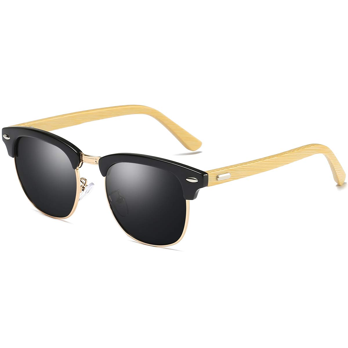 6e0b7b54963a1 Amazon.com  polarized bamboo frame clubmaster sunglasses for women  Men