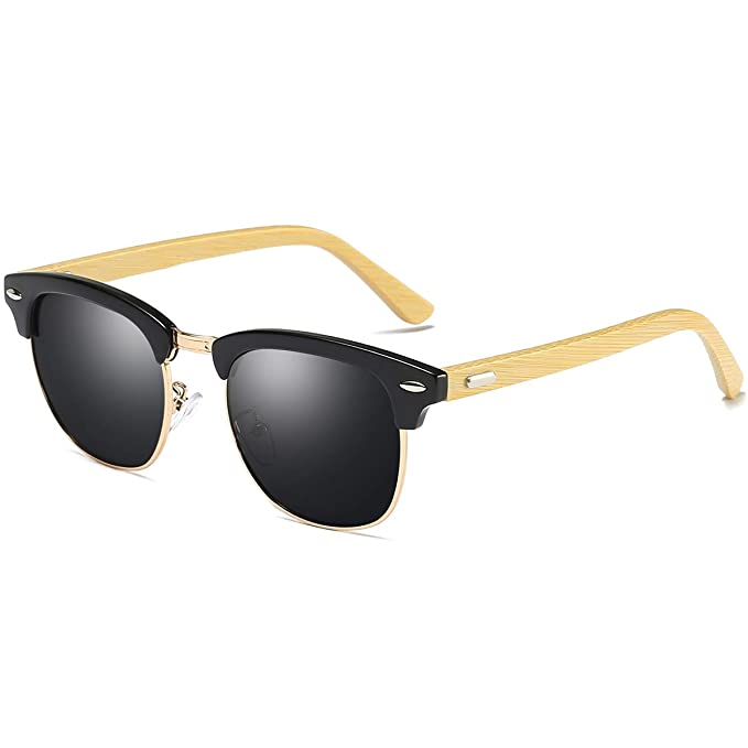 b6f8f4e2879 Image Unavailable. Image not available for. Color  polarized bamboo frame  clubmaster sunglasses for women Men