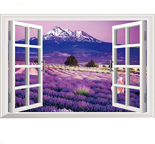 Amtoodopin 3D Lavender Flowers Fake Windows Wall Stickers Removable Faux Windows Wall Decal for Livingroom Bedroom (Lavender 23.6x35.4 inch)
