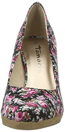 Tamaris Damen 22446 Pumps Schwarz (BLACK FLOWER 016)