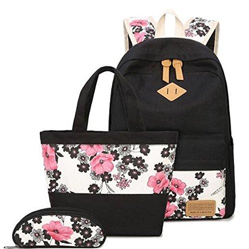 OURBAG Mochila Mujer Bolso de escuela de los chicas Moda Bolsa De Hombro Mochila de viaje 3 piezas negro Negro