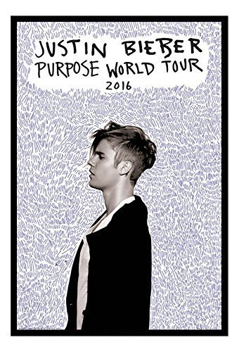 Amazon.com: Justin Bieber Purpose Tour Poster Black Framed & Satin ...