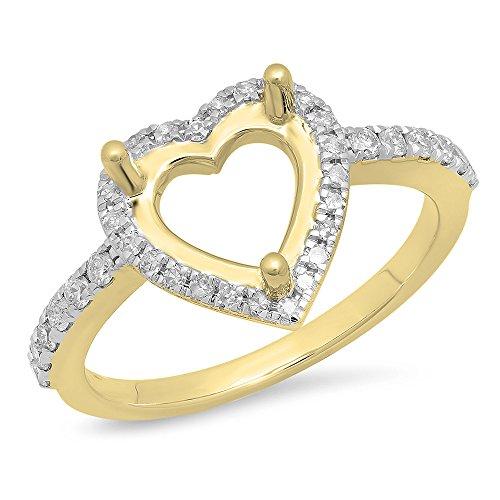(0.30 Carat (ctw) 14K Yellow Gold Round Cut White Diamond Semi Mount Engagement Ring 1/3 CT)