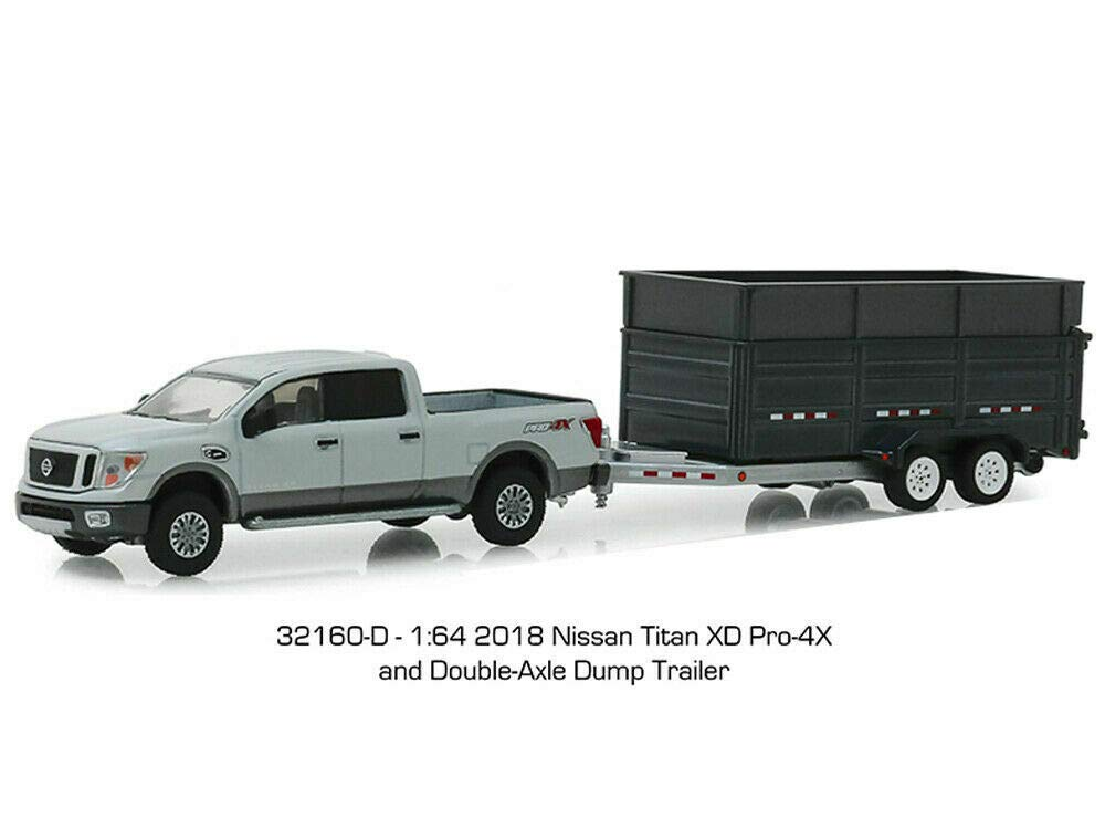 Greenlight 32160-D Hitch & Tow Series 16-2018 Nissan Titan XD Pro-4X and Double-Axle Dump Trailer 1:64 Scale