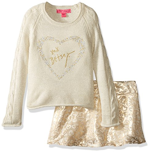 Betsey Johnson Little Girls' 2 Piece Lurex Jacquard Skirt Set, Ivory, 6 - Betsey Johnson 2 Piece