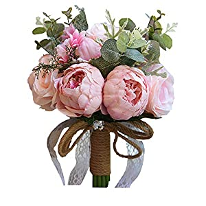 Flonding Romantic Wedding Bouquets Artificial Roses Peony Lily Real Touch Bridal Holding Flowers Bride Bridesmaid Brooch Bouquet (Pink) 3