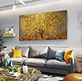 Faicai Art Thick Texture Gold Tree Paintings Canvas Wall Art Hand Oil Canvas Paintings 3D Palette Knife Canvas Artwork Wall Decor for Living Room Bedroom Office Stretched Ready to Hang
