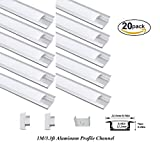 Hanks 20Pack 1M/3.3ft 24.5X7mm Shallow Flush Mount Aluminum Channel Profile Extrusion for Wall and Ceiling with Milk Cover End Caps Mounting Clips (20X1M Milk)