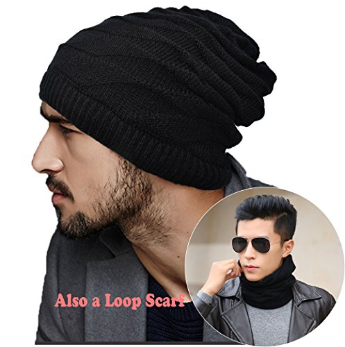 ELLEWIN Unisex Slouch Beanie Knit Skull Cap Hat Loop Scarf Rectangular Neckerchief - Cool To Where Buy Beanies