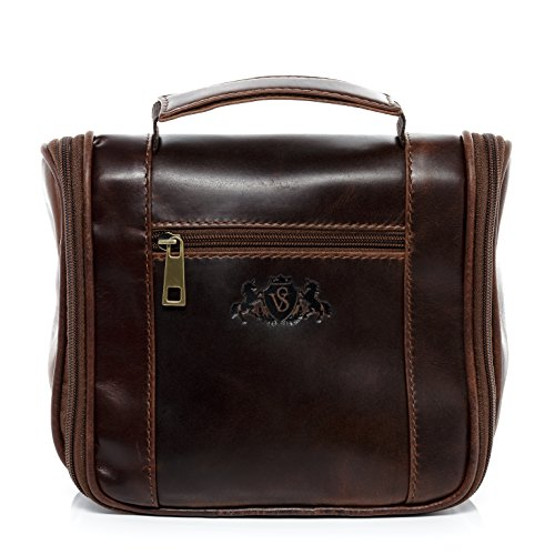 SID & VAIN large hanging wash bag - Travel Overnight Wash Gym necesaire HEATHROW - toiletry bag with hook brown-cognac leather