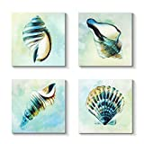 Grander Group Sea Lift Picture Abstract Artwork - Aquarelle Shells Gold Foil Painting Print on Canvas
