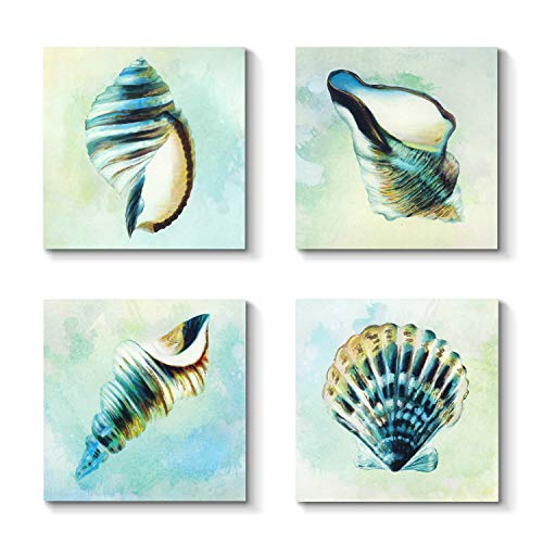 (Grander Group Sea Lift Picture Abstract Artwork - Aquarelle Shells Gold Foil Painting Print on)