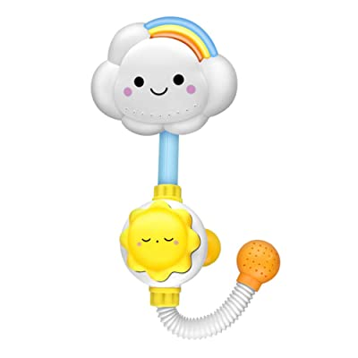 Ewer Infant Baby Bath Toy, Flower Baby Bath Shower Head Manual Water Pump with Hand Shower Bathtub Bathing Water Game Sprays Water for Kids Toddlers Bath Time: Toys & Games