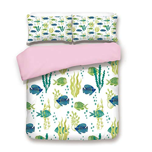 Pink Duvet Cover Set,FULL Size,Different Tropical Fish and Seaweeds Exotic Marine Watercolor Artwork Decorative,Decorative 3 Piece Bedding Set with 2 Pillow Sham,Best Gift For Girls Women,Avocado Gree