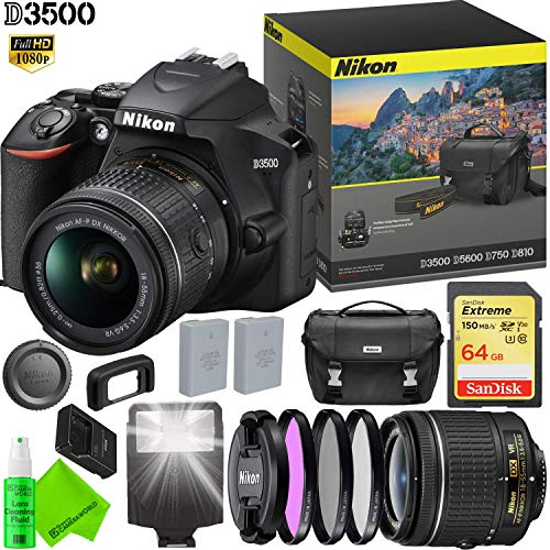 Nikon D3500 DSLR Camera with 18-55mm Lens – 64GB Memory Card – Lens Filters – Extra Battery Bundle