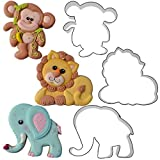 Jungle Animal Cookie Cutter Set- Elephant, Monkey, Lion by Chapix Cookies