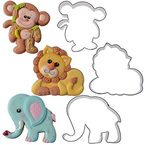 Jungle Animal Cookie Cutter Set- Elephant, Monkey, Lion by Chapix Cookies ()