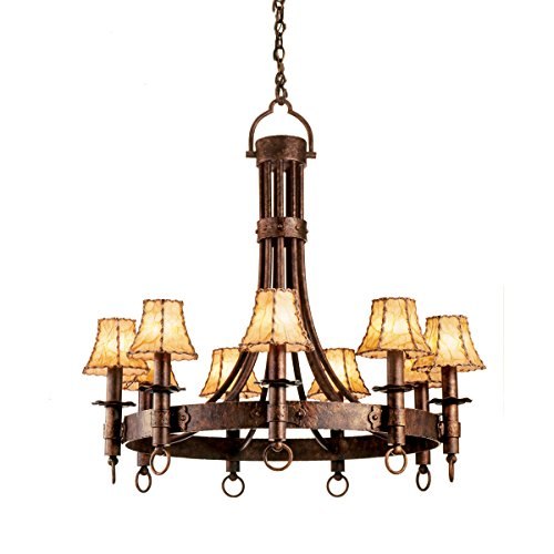Chandeliers 9 Light with Country Iron Finish Hand Forged Wrought Iron E12 144 inch 360 Watts