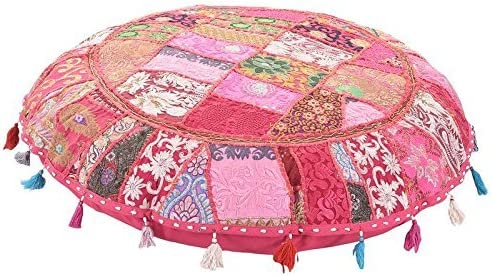 ANJANIYA 32 Beautiful Bohemian Round Indian Patchwork Pouffe Indian Traditional Home Decorative Handmade Cotton Ottoman Patchwork Foot Stool Floor Cushion Embroidered Decorative Vintage Pink