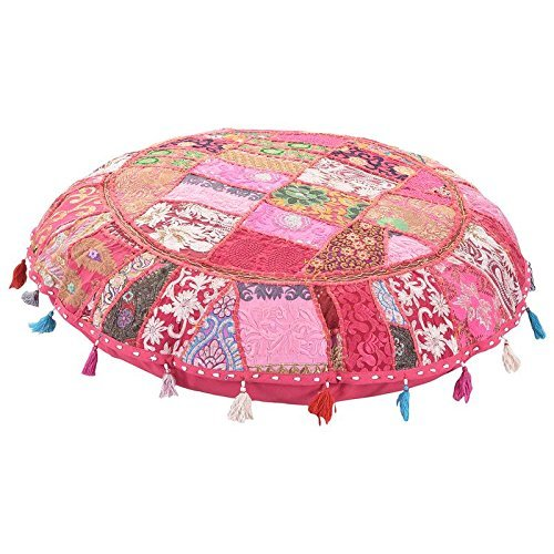 ANJANIYA 32'' Beautiful Bohemian Round Indian Patchwork Pouffe Indian Traditional Home Decorative Handmade Cotton Ottoman Patchwork Foot Stool Floor Cushion Embroidered Decorative Vintage (Pink)