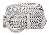 MONIQUE Women Covered Buckle Genuine Leather Braided Woven Round 2'' Wide Belt,White S/M - 32'' (End to End 37'')