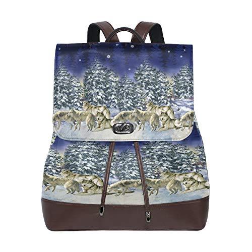 Kvinnor PU-läder varg ryggsäck handväska resa skola axelväska ledig dagväska